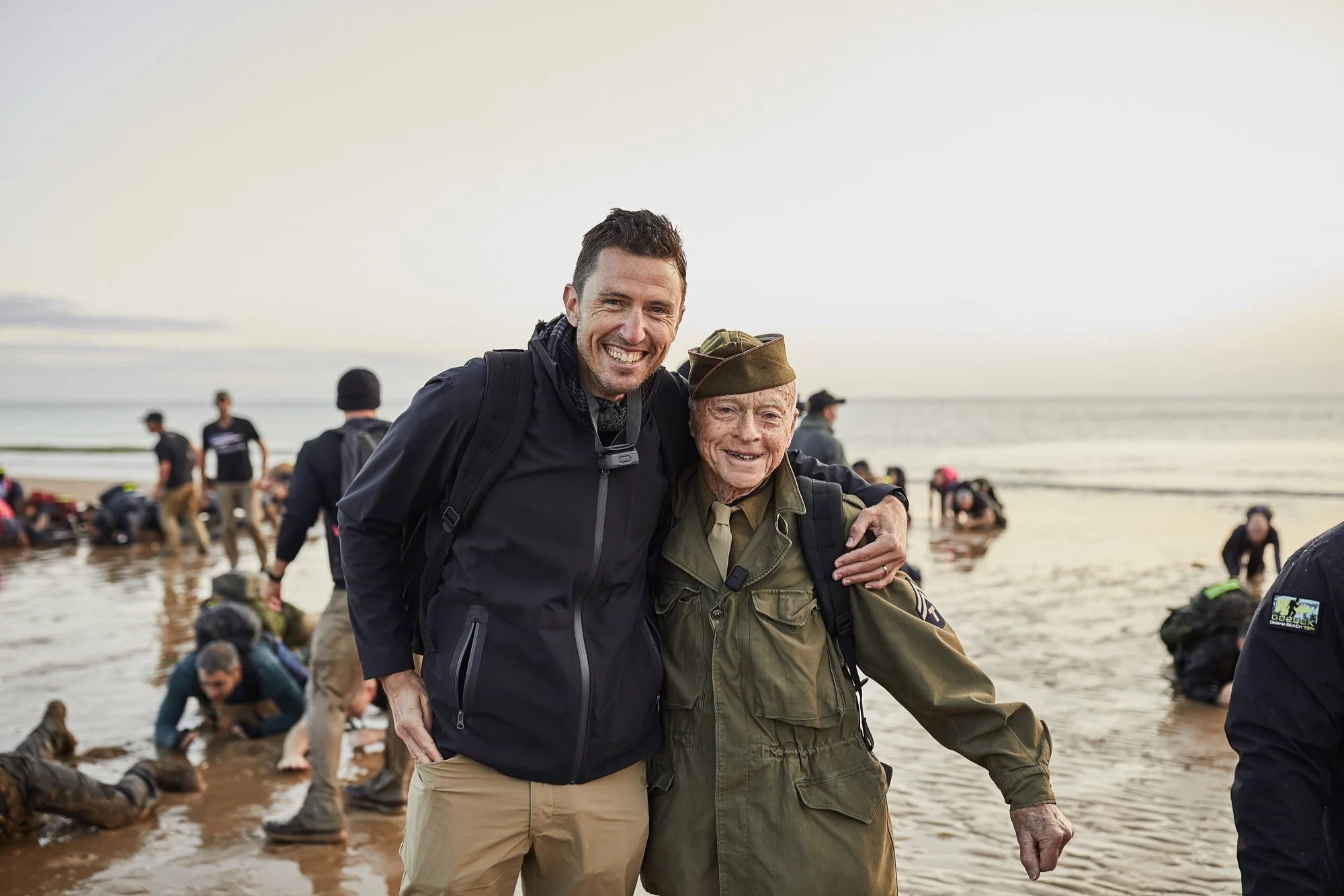 GORUCK founder with WWI vet at Omaha Beach for 75th anniversary